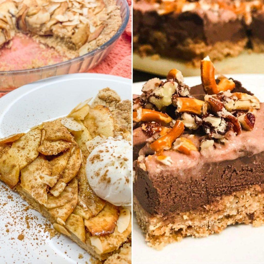 Bezglutenowa wegańska tarta i wegańskie brownie z preclami.