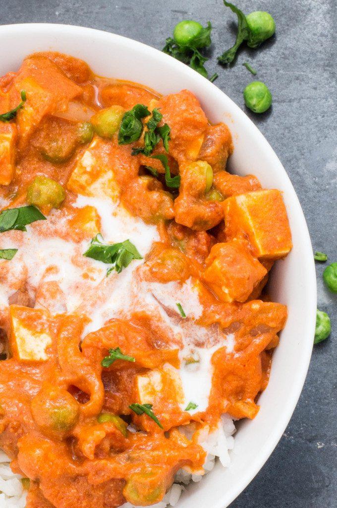 Szybki wegański obiad curry z groszkiem