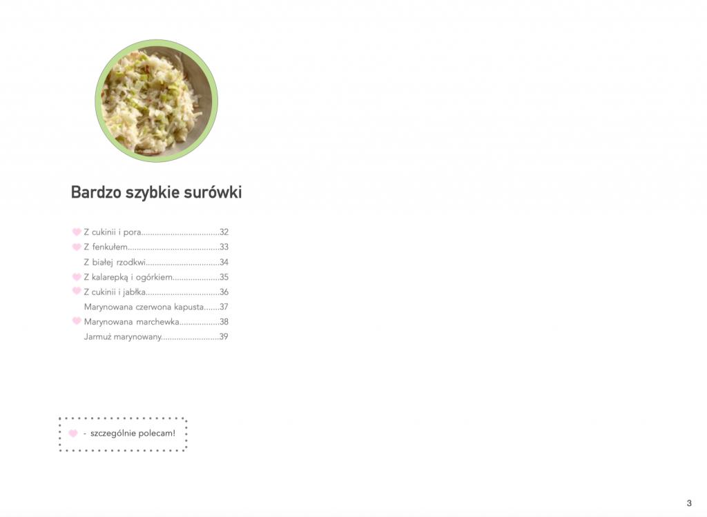 spis treści ebooka z przepisami na surówki