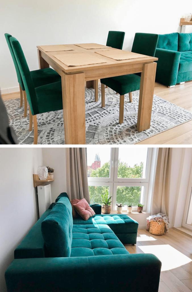 Butelkowo zielona kanapa w zestawieniu z drewnem – jak urządzić salon?